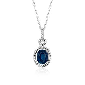 Floating Sapphire and Diamond Oval Twisted Pavé Pendant in 18k White Gold (9x7mm)