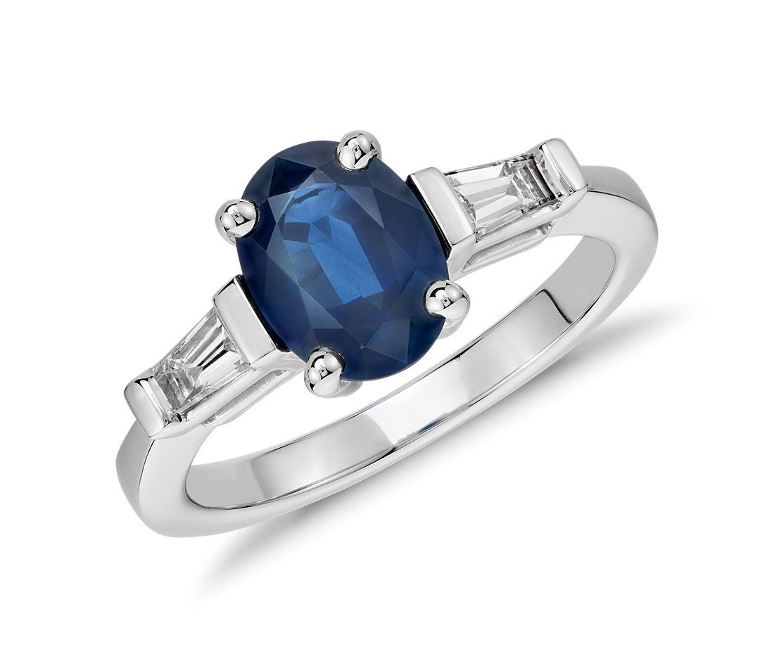 Oval Sapphire and Baguette Diamond Ring in 14k White Gold (8x6mm)