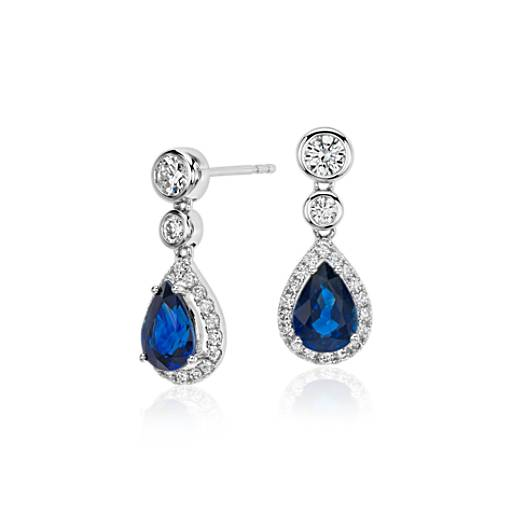 Sapphire And Diamond Pear Drop Earrings In 18k White Gold