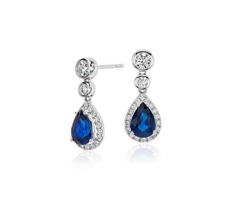 Sapphire and Diamond Pear Drop Earrings in 18k White Gold (7x5mm)
