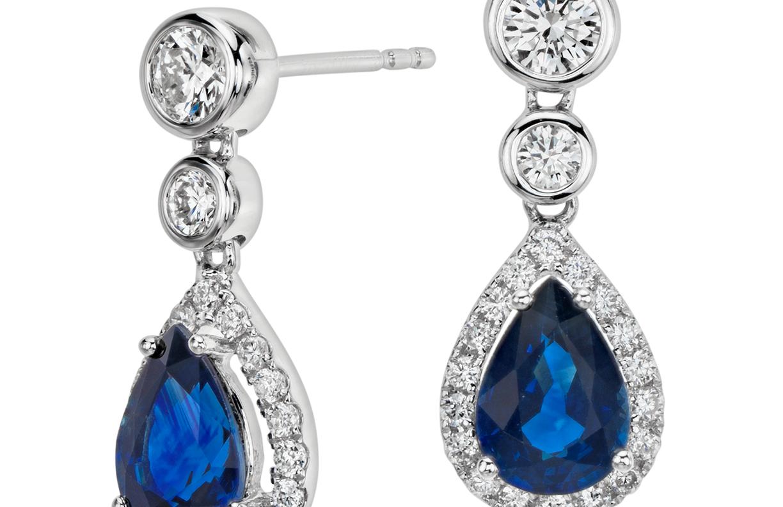 Pendants d'oreilles poire diamant et saphir en or blanc 18carats (7x5mm)