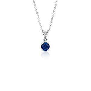 Sapphire and Diamond Solitaire Pendant in 18k White Gold (5mm)