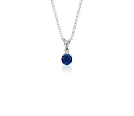 Sapphire and diamond solitaire pendant in 18k white gold 5mm sapphire and diamond solitaire pendant in 18k white gold 5mm aloadofball Choice Image