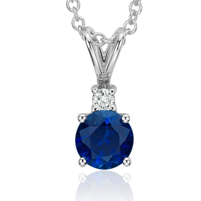 Pendentif solitaire diamant et saphir bleu en or blanc 18carats (5mm)