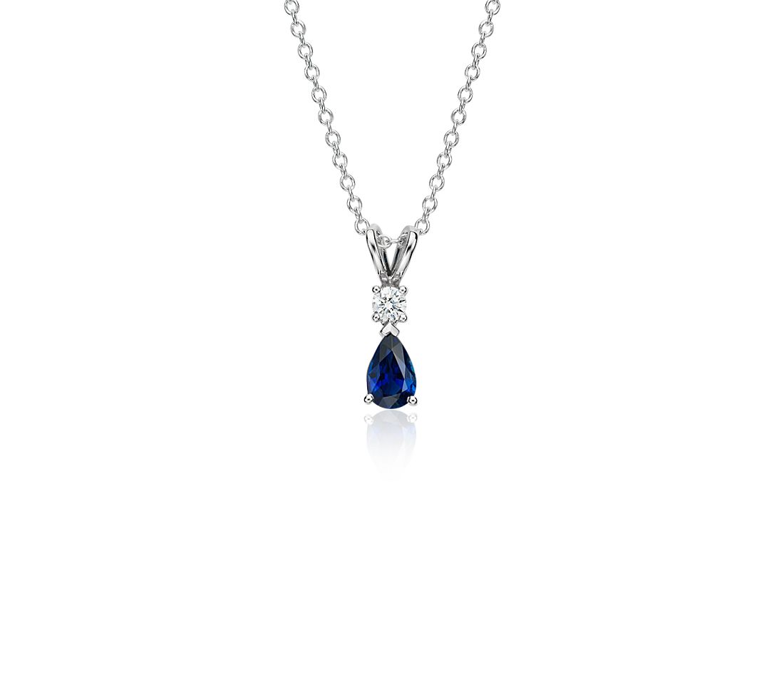 Pear Shape Sapphire And Diamond Pendant In 18k White Gold