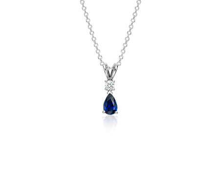 Pear shape sapphire and diamond pendant in 18k white gold 6x4mm pear shape sapphire and diamond pendant in 18k white gold 6x4mm aloadofball