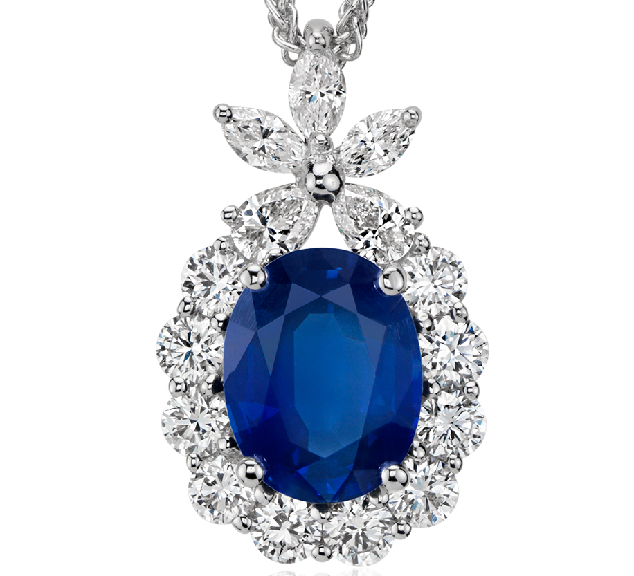 Oval Sapphire and Diamond Pendant in 18k White Gold (9x7mm)
