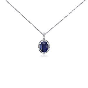 Sapphire and Micropavé Diamond Pendant in 18k White Gold