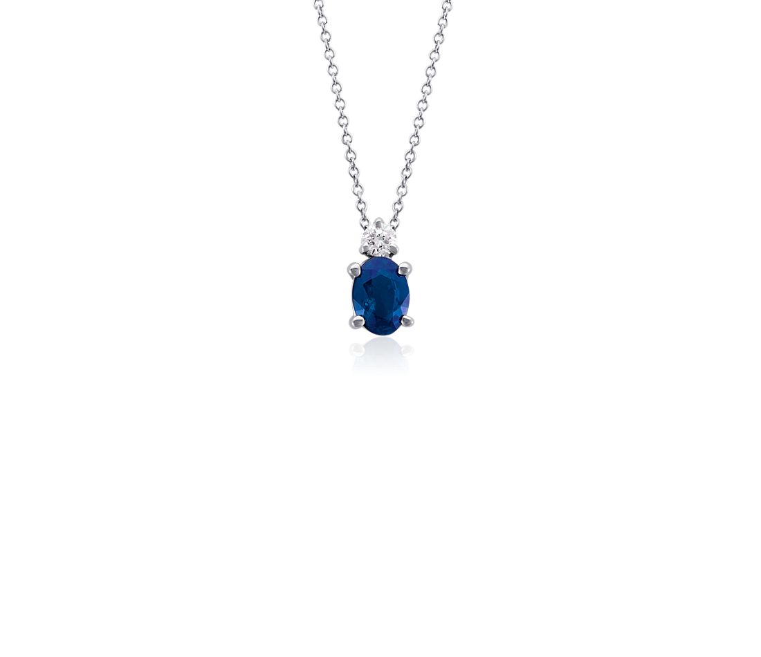 Oval Sapphire and Diamond Pendant in 18k White Gold (7x5mm)