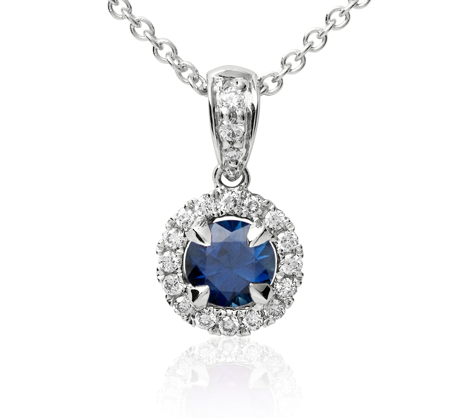 Sapphire and Micropavé Diamond Pendant in 18k White Gold (5mm)