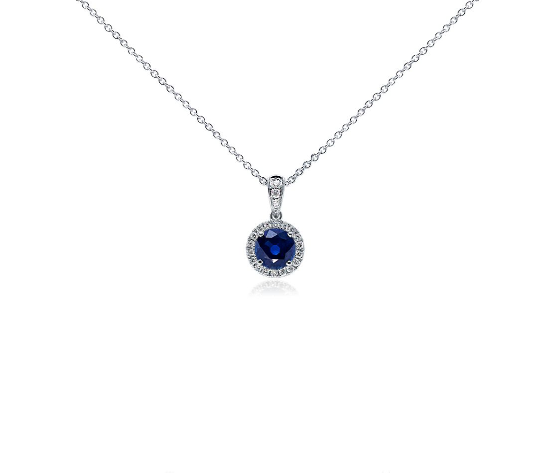Sapphire and Micropavé Diamond Pendant in 18k White Gold (6mm)