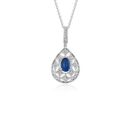 Sapphire Cabochon and Diamond Drop Pendant in 18k White