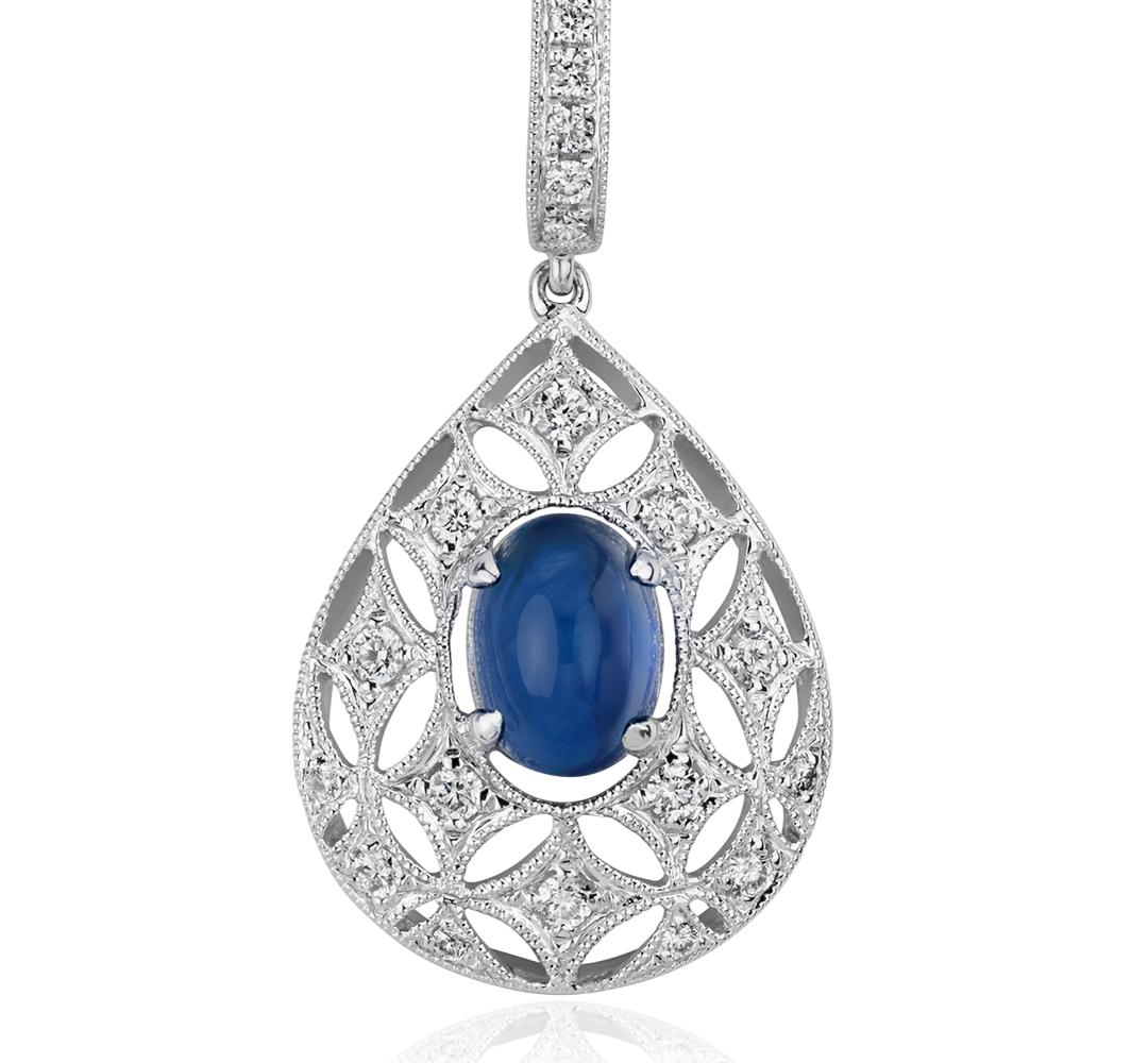 Colgante en forma de gota con cabujón de zafiro y diamante en oro blanco de 18 k