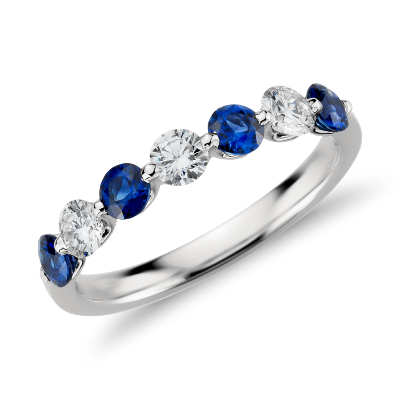 Classic Floating Sapphire and Diamond Ring in Platinum 38 ct tw