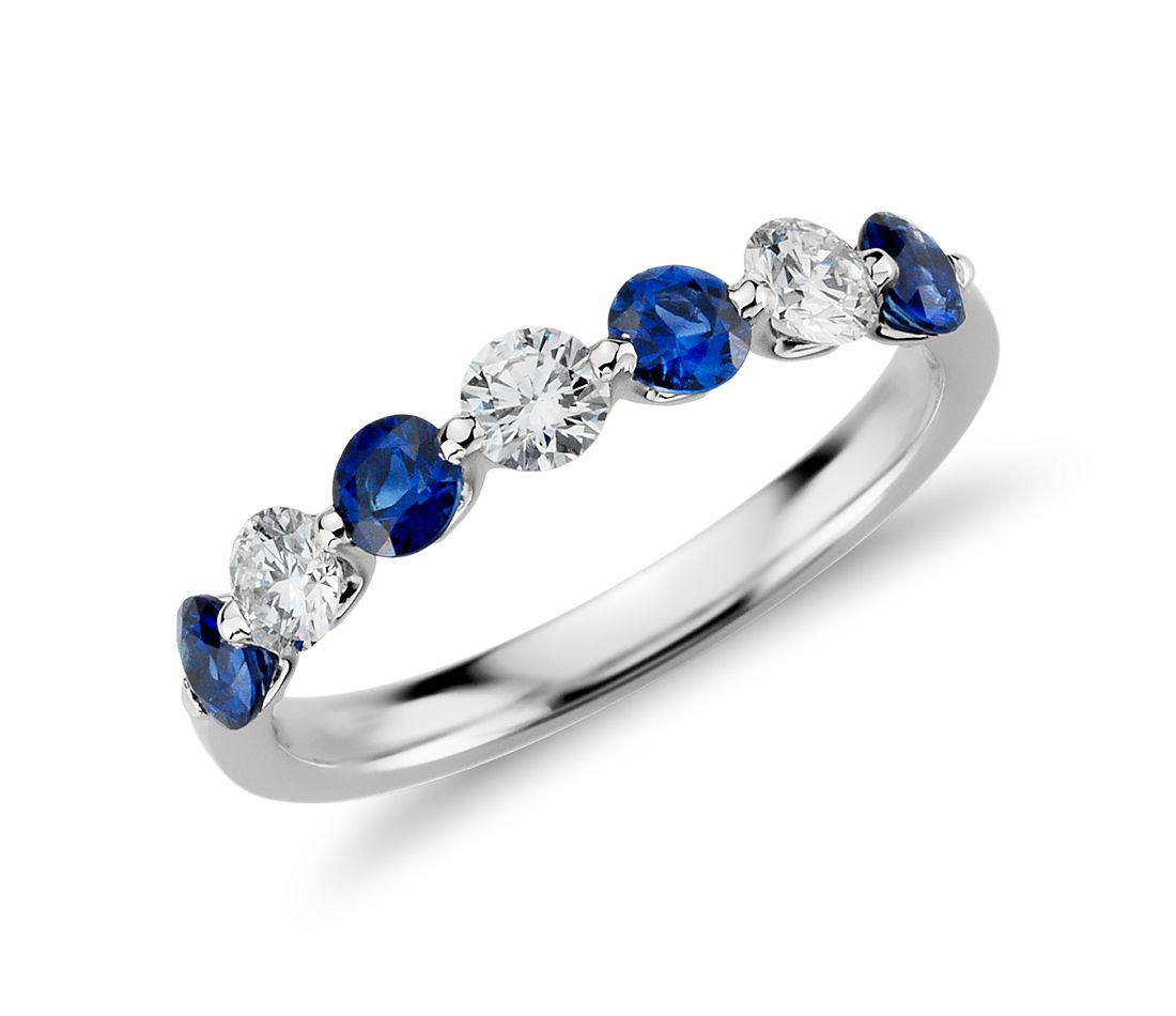 Classic Floating Sapphire And Diamond Ring In Platinum 3