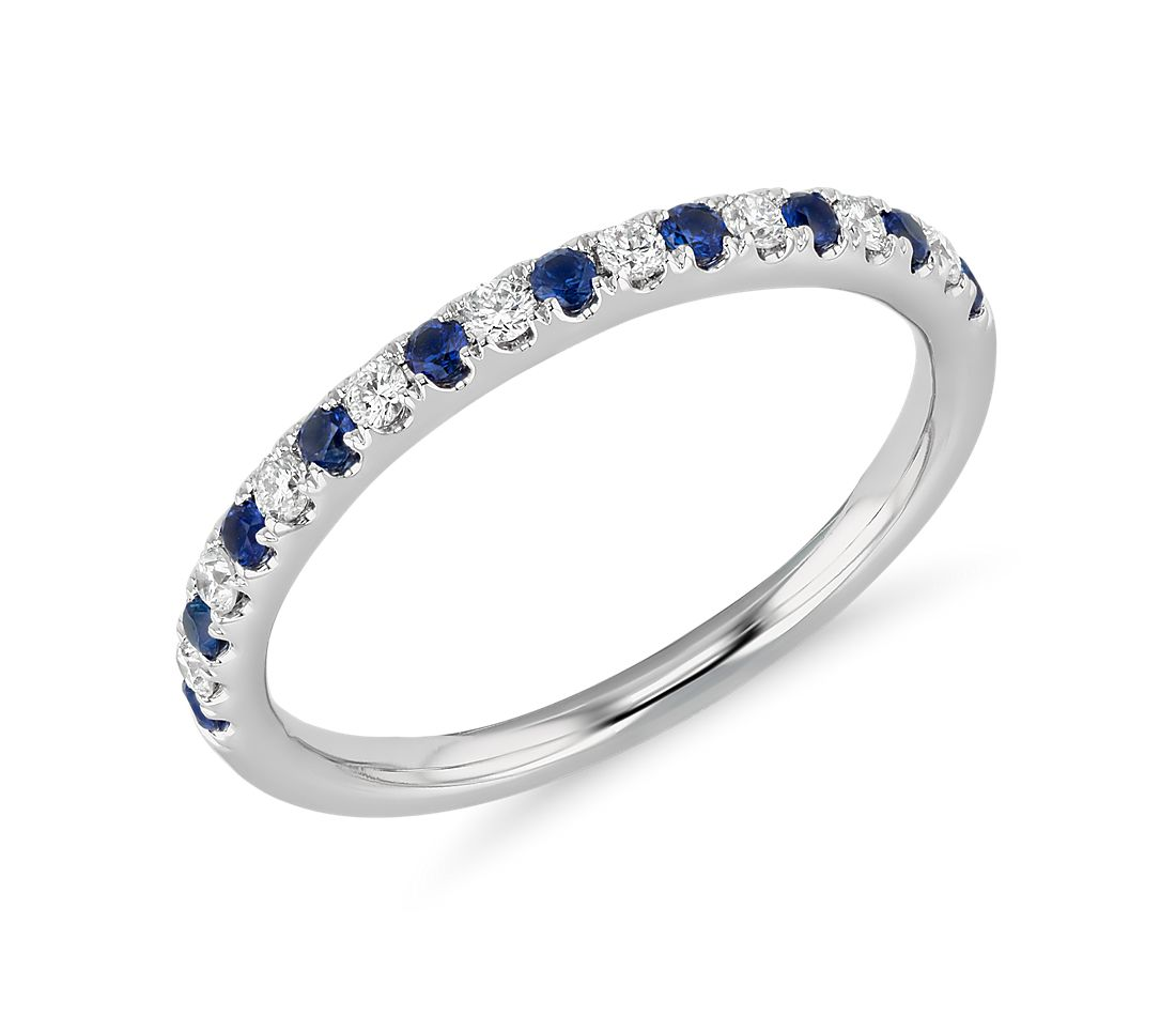 Top Enement Ring Designs | Riviera Pave Sapphire And Diamond Ring In 14k White Gold 1 5mm