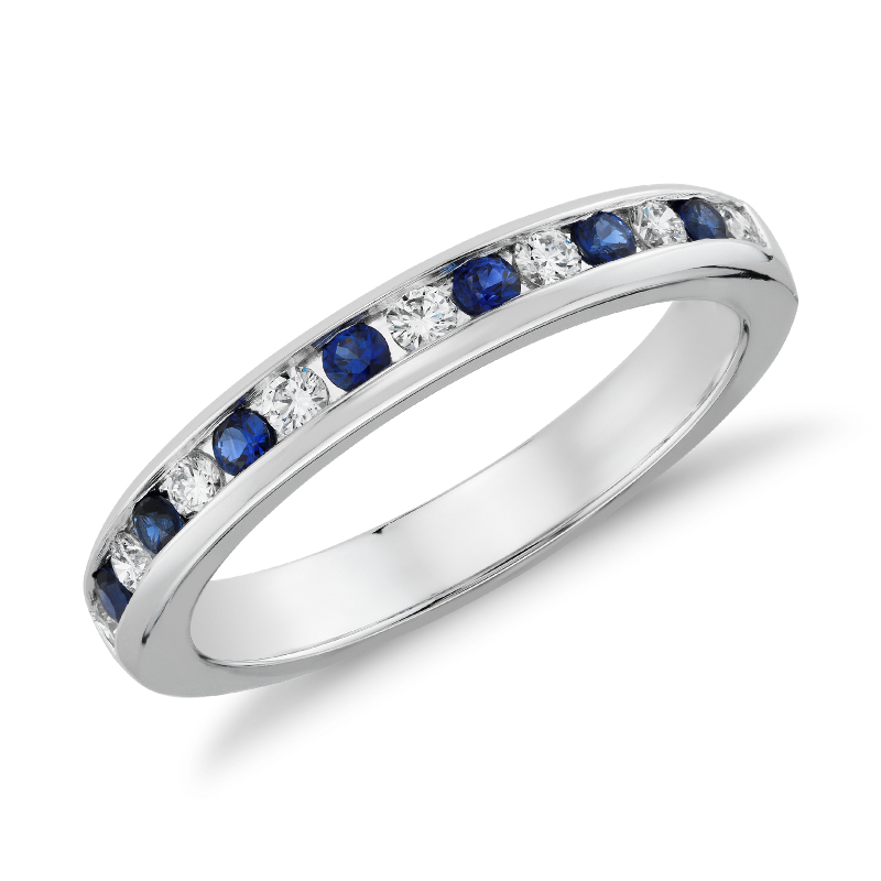 Channel Set Sapphire and Diamond Ring in 18k White Gold (0.18 ct.
