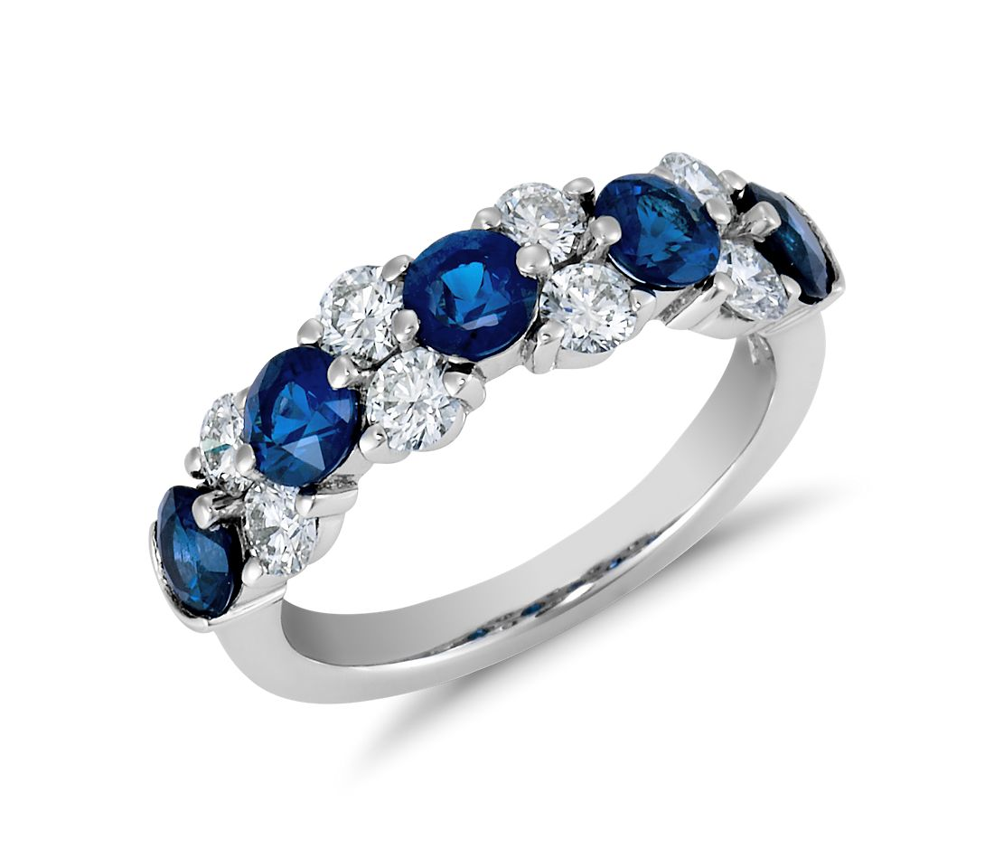Sapphire And Diamond Garland Ring In Platinum 7 8 Ct Tw