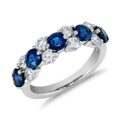 Sapphire and Diamond Garland Ring in Platinum 78 ct tw Blue