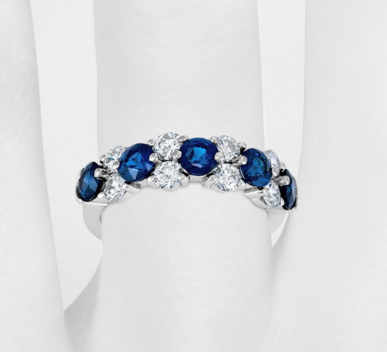 Sapphire and Diamond Garland Ring in Platinum (7/8 ct. tw.)