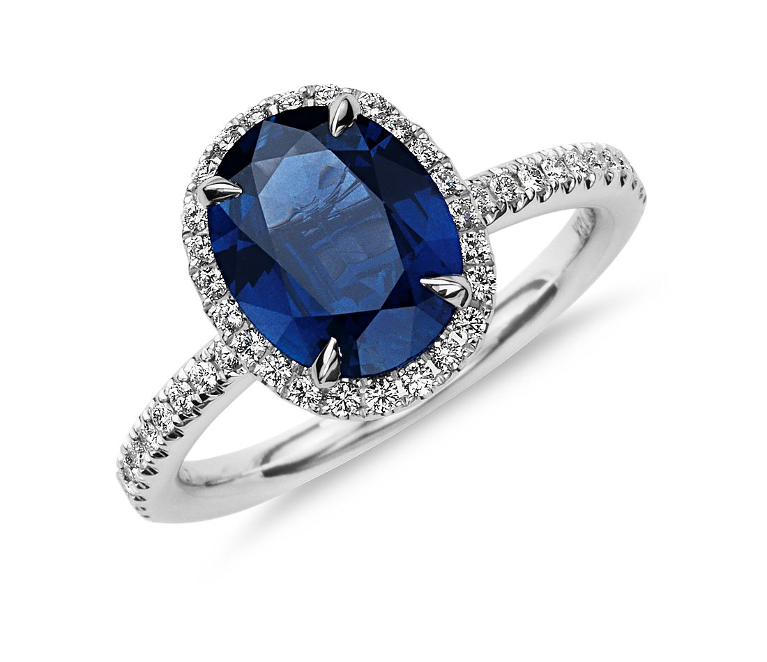 Sapphire and Micropavé  Diamond Ring in 18k White Gold
