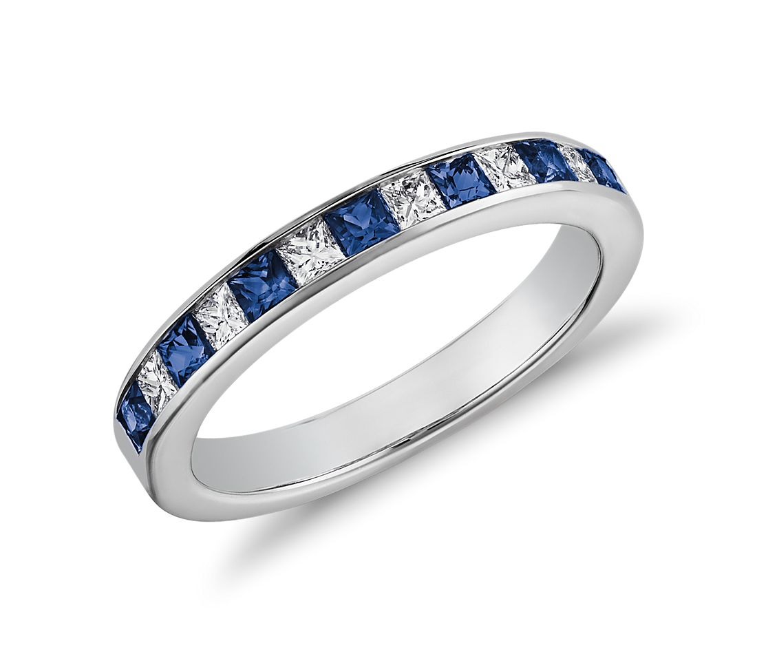 channel set princess cut sapphire and diamond ring in 14k white gold - Sapphire Wedding Rings