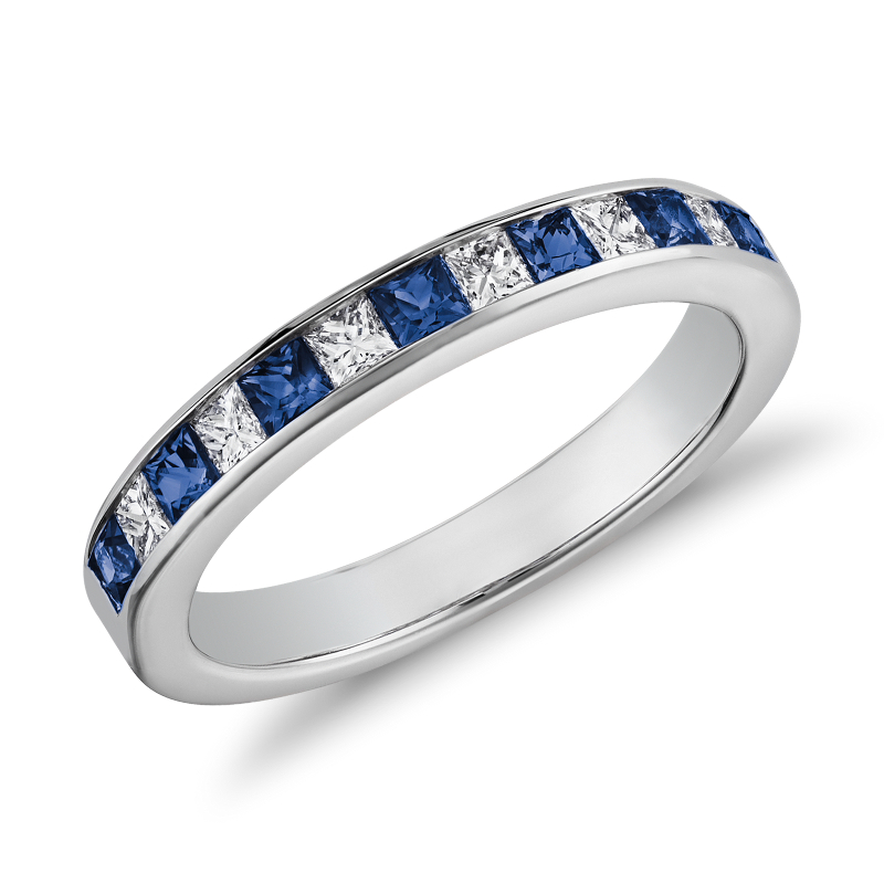Channel-Set Princess Cut Sapphire and Diamond Ring in 14K White G