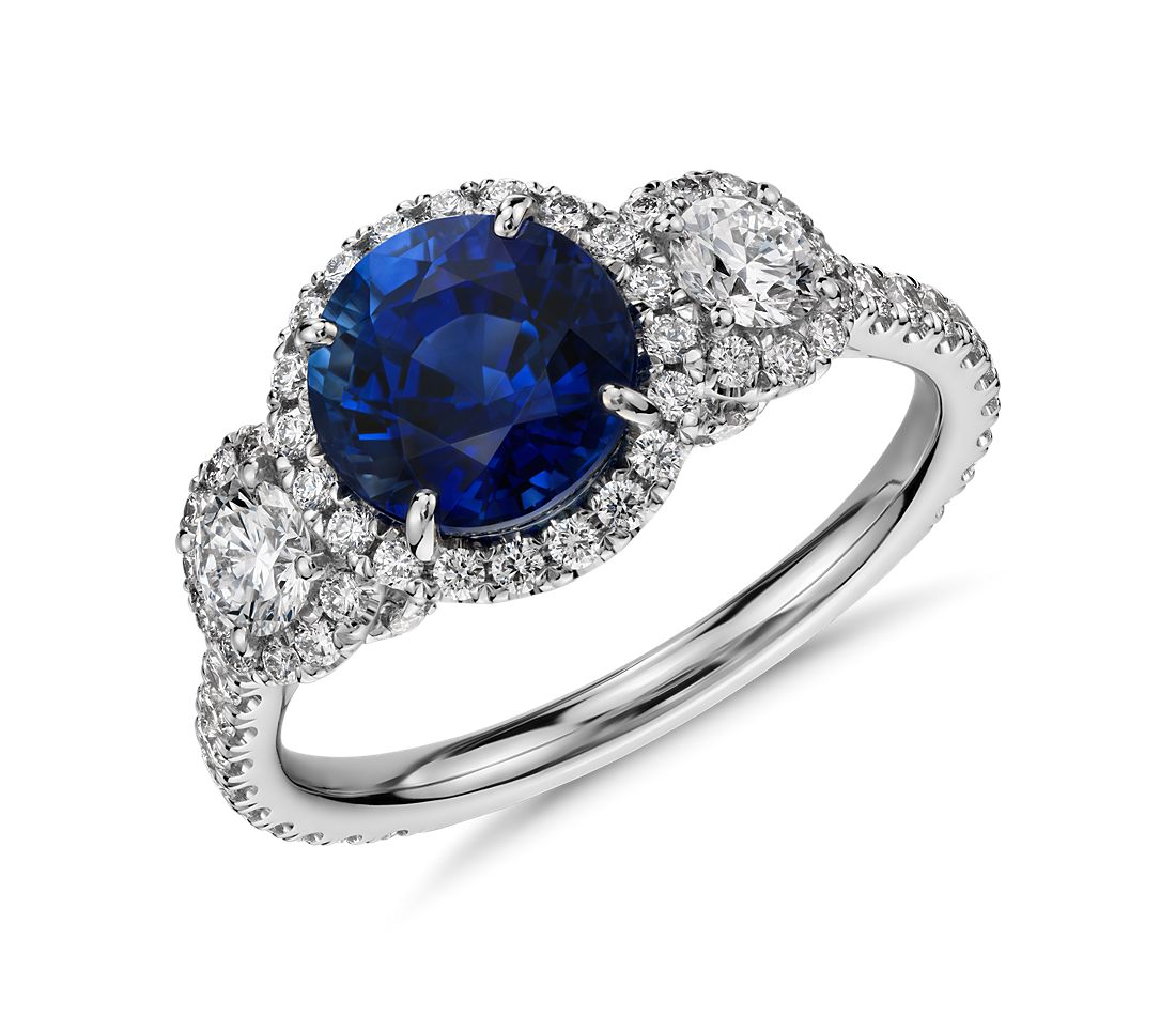 Sapphire and Diamond Halo Three-Stone Ring in 18k White Gold
