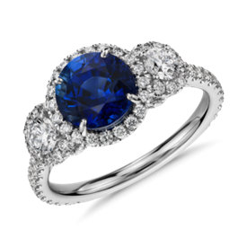 Sapphire and Diamond Halo Three-Stone Ring in 18k White Gold  (2 ct centre)