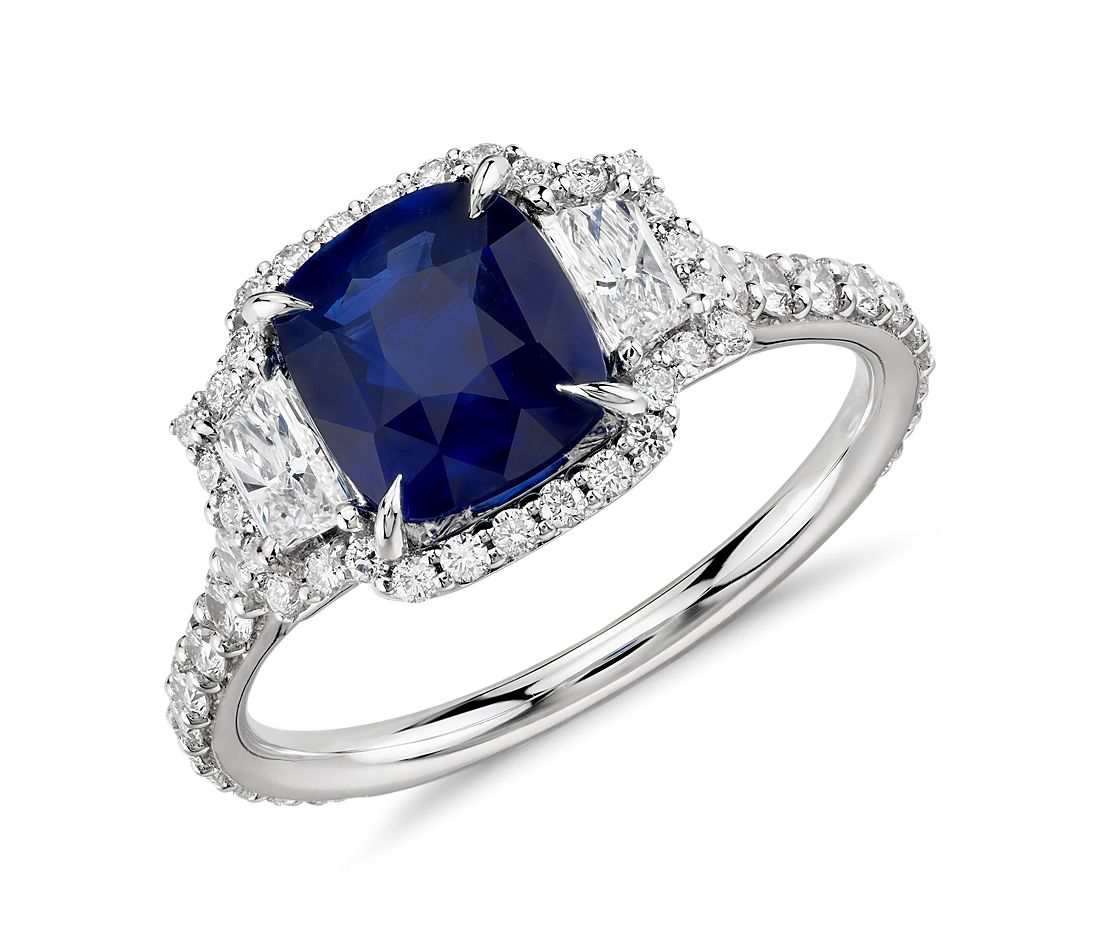 Sapphire And Diamond Three Stone Ring In 18k White Gold 2