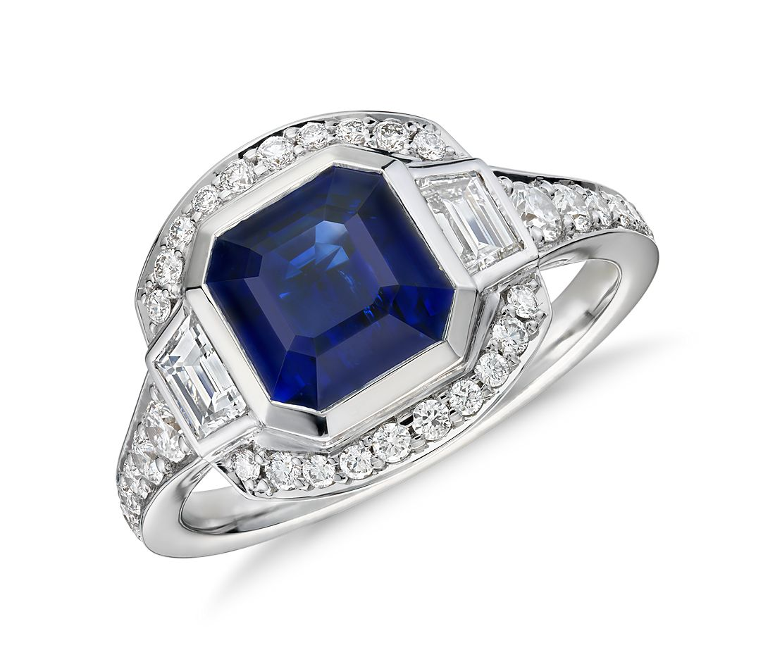 Emerald-Cut Sapphire and Diamond Halo Ring in 18k White Gold