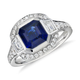 Emerald-Cut Sapphire and Diamond Ring in 18k White Gold (2.62 ct. tw. centre)