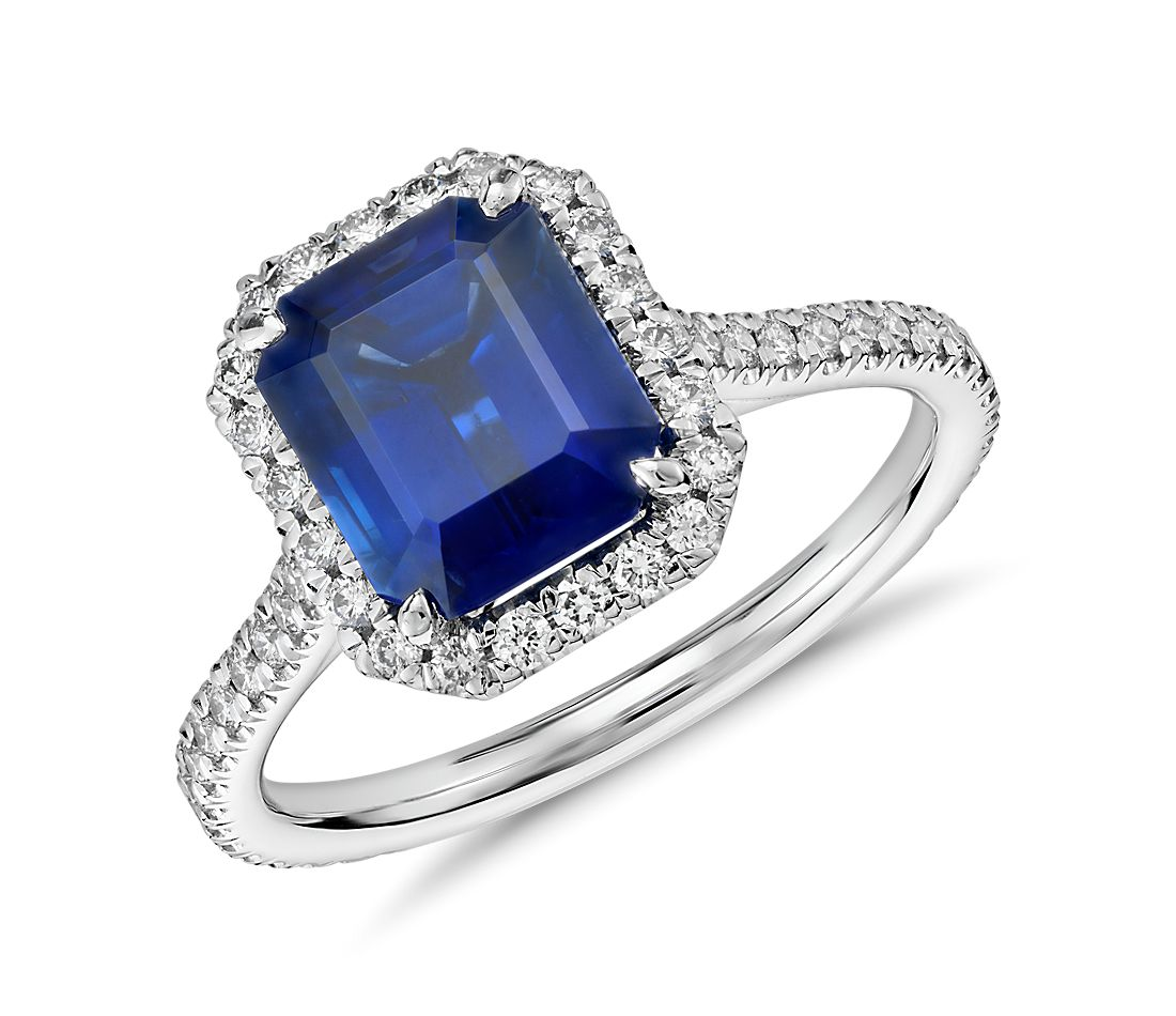 Emerald Cut Sapphire And Diamond Halo Ring In 18k White