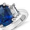 Cushion-Cut Sapphire and Diamond Three-Stone Ring in Platinum (3.10 cts center)