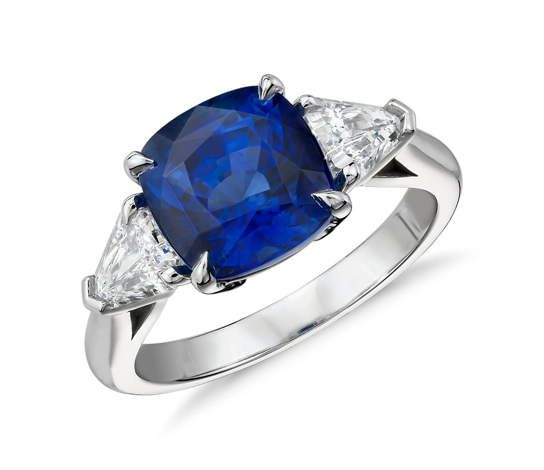 Cushion-Cut Sapphire and Diamond Three-Stone Ring in Platinum (4.27 ct center)