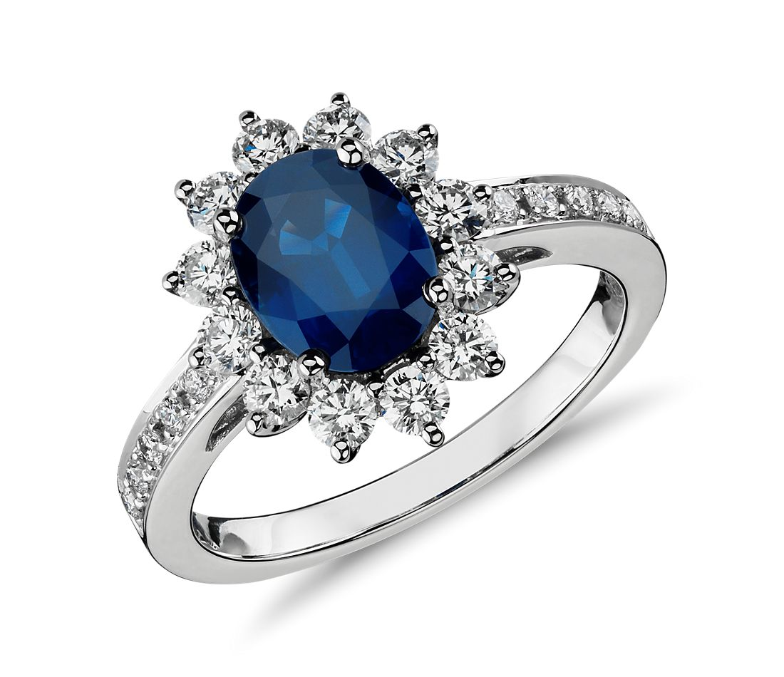 oval sapphire and diamond halo ring in 18k white gold 8x6mm - Sapphire Wedding Rings