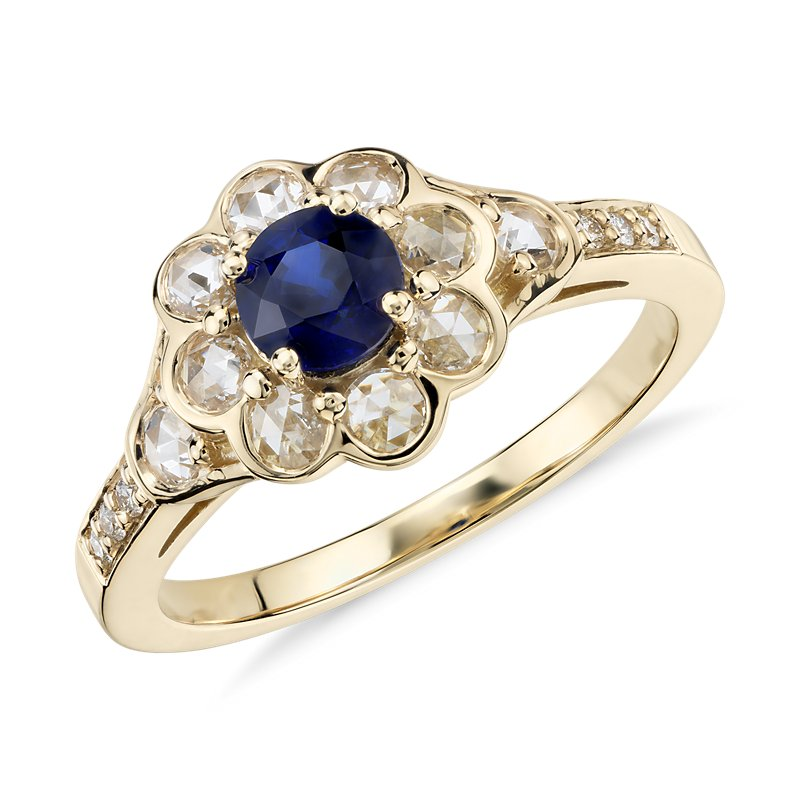 Sapphire and Diamond Halo Rose Cut Floral Ring in 18k Yellow Gold (5mm)