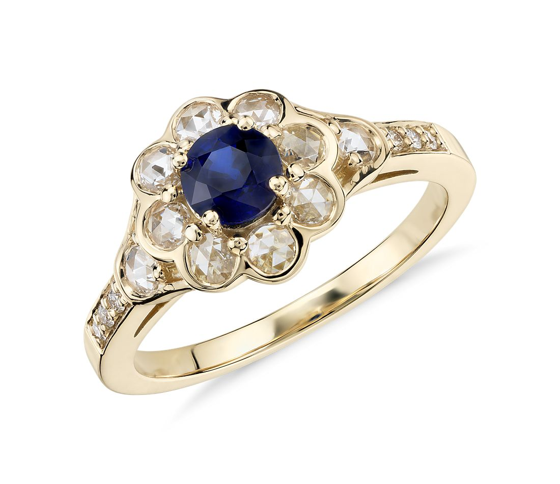 Sapphire And Diamond Halo Rose Cut Floral Ring In 18k Yellow Gold