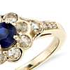 Sapphire and Diamond Rose Cut Floral Ring in 18k Yellow Gold (5mm)