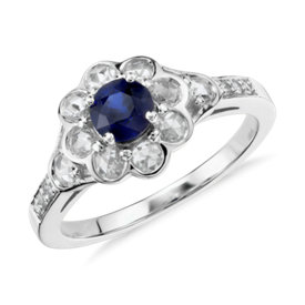Sapphire and Diamond Rose Cut Floral Halo Ring in 18k White Gold (5mm)