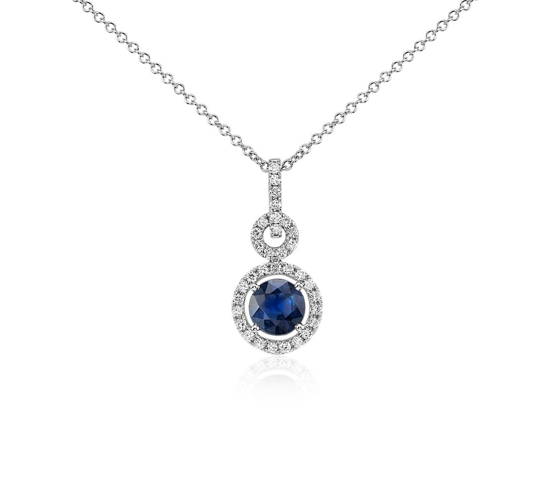Floating Sapphire and Diamond Round Twisted Pavé Pendant in 14k White Gold (6mm)