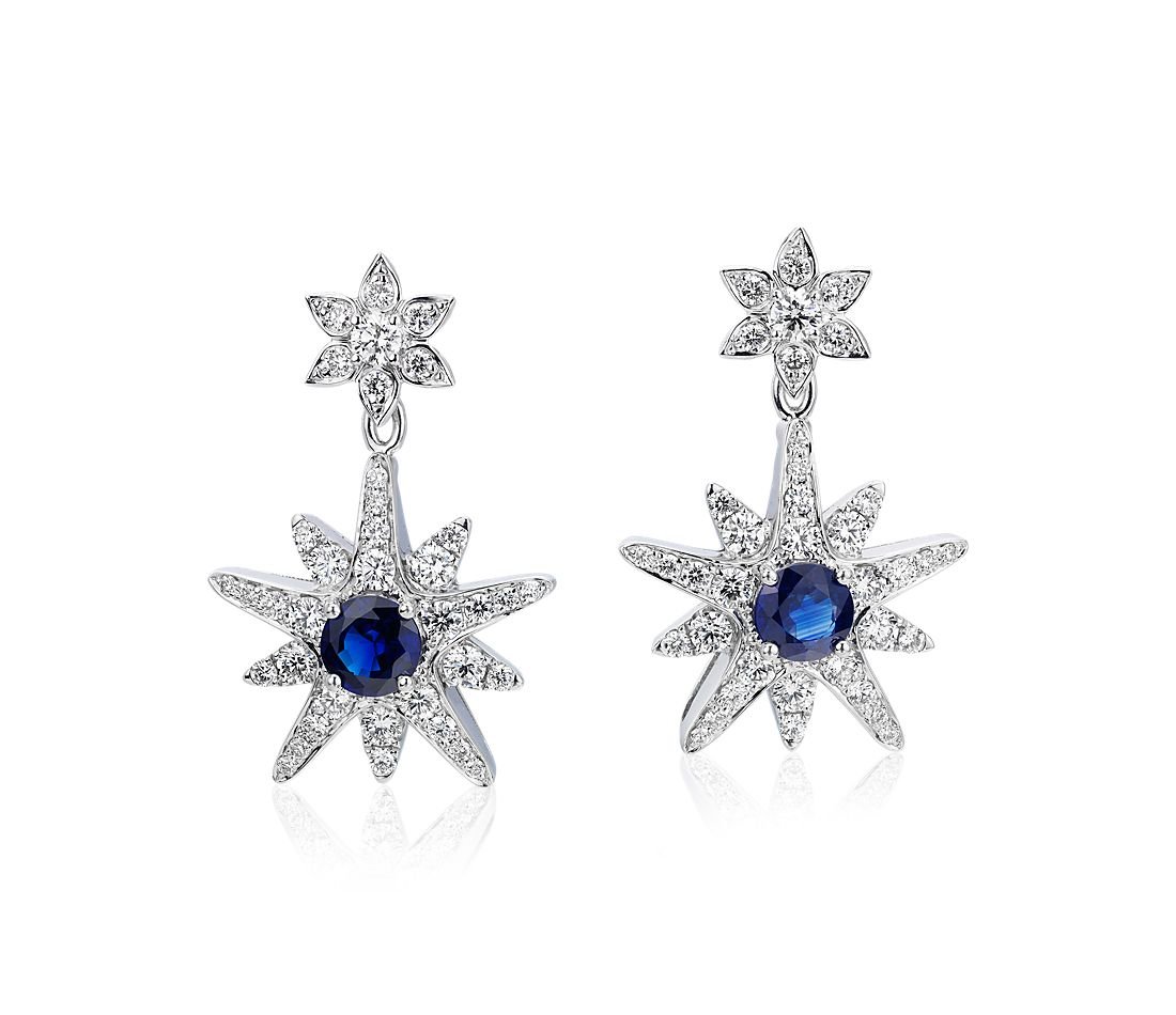 Sapphire and Diamond Star Drop Earrings in 18k White Gold (5mm)