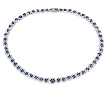 Sapphire and Diamond Halo Eternity Necklace in 18k White Gold (21.72 ct. tw.)
