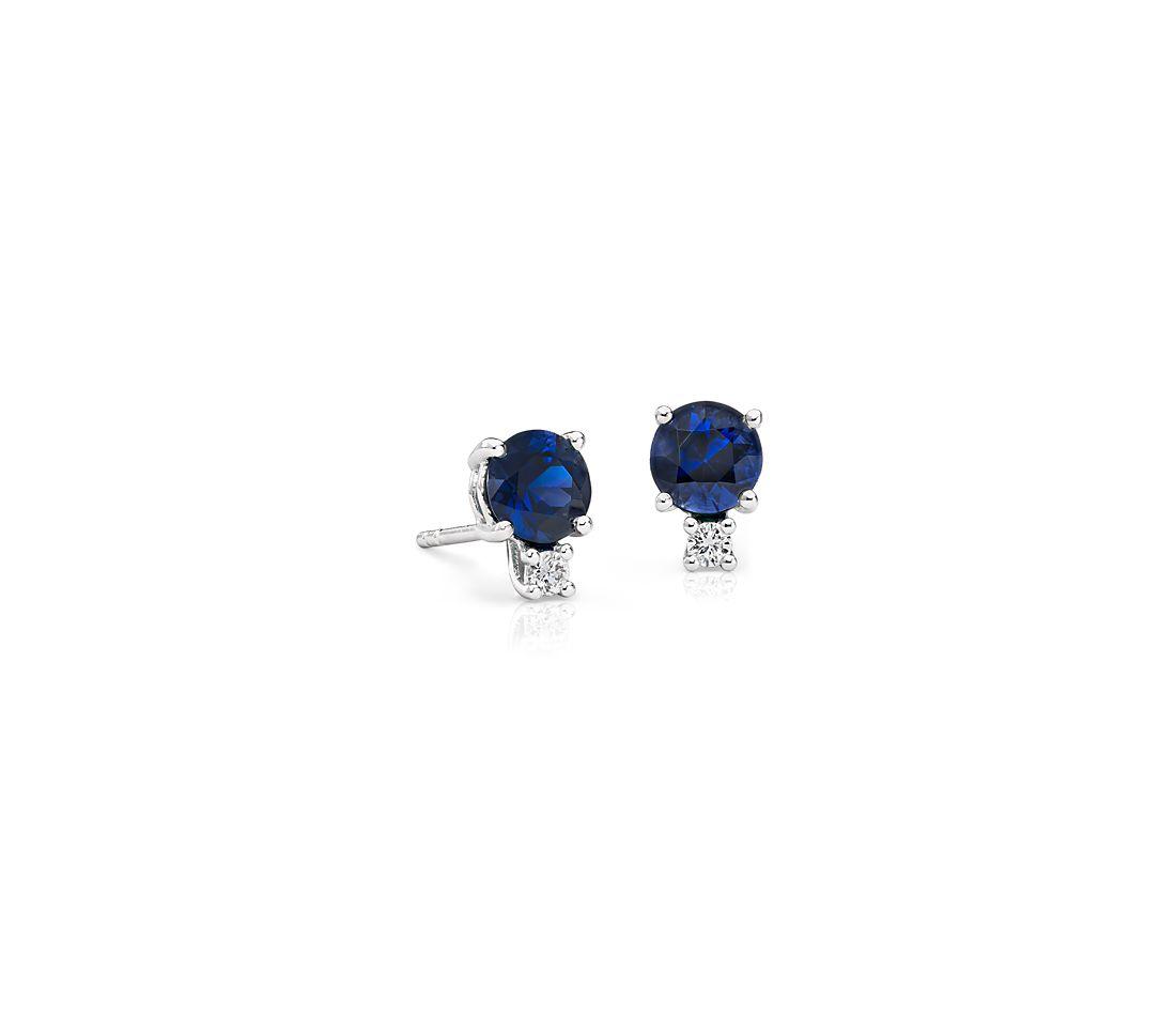 Shire And Diamond Stud Earrings In 18k White Gold 5mm