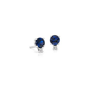 Sapphire and Diamond Stud Earrings in 18k White Gold (5mm)