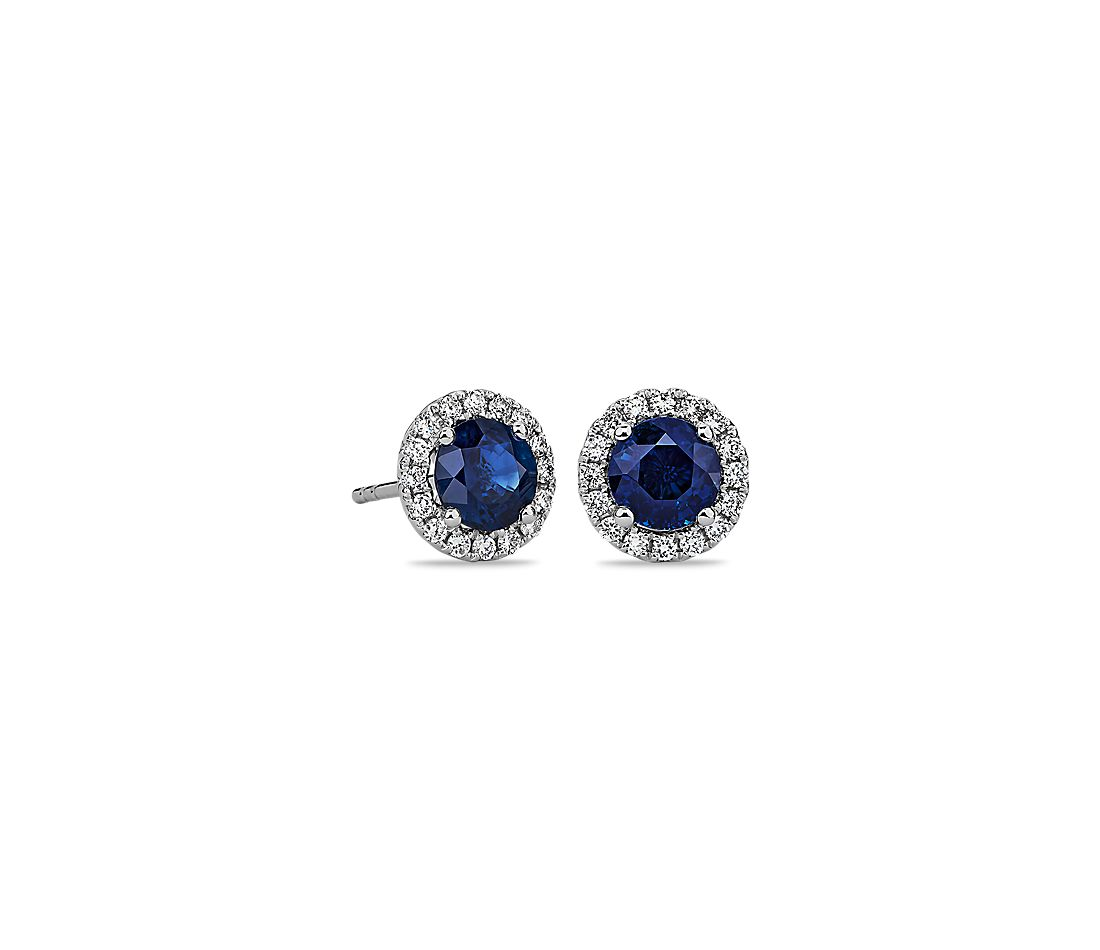 Shire And Micropavé Diamond Stud Earrings In 18k White Gold 5mm