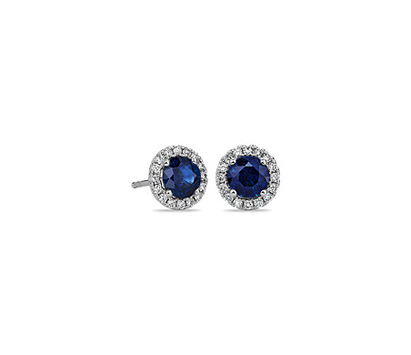 Sapphire and Micropavé Diamond Stud Earrings in 18k White Gold