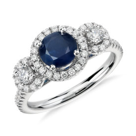 Isola Sapphire and Diamond Halo Three Stone Ring in 14k White Gold (6mm)