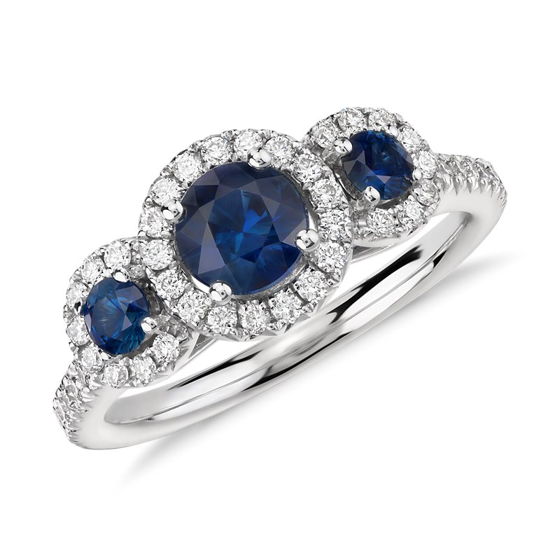Isola Sapphire and Diamond Halo Three Stone Ring in 14k White Gol