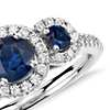 Isola Sapphire and Diamond Three Stone Ring in 14k White Gold (5mm)